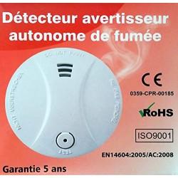 Détecteur de fumée à pile lithium - autonomie 10 ans - norme européenne