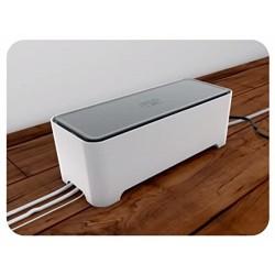 Allibert 220046 E-Box Boîte de Rangement Rectangulaire pour Câbles Polypropylène Blanc/Gris 36,79 x 14,7 x 12,6 cm