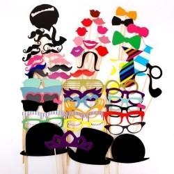 58pcs masque avec bâton pour Masquerade cravate/ couronne/ lunettes/ moustache