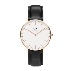 Daniel Wellington - 0508DW - Sheffield - Montre Mixte - Quartz Analogique - Cadran Rose - Bracelet Cuir Multicolore