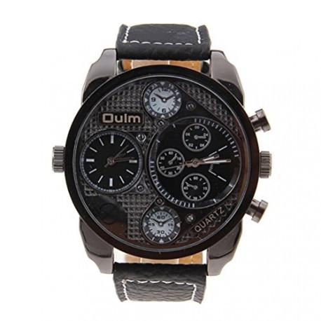 Foxnovo Grand cadran rond Dual Time Cool masculine Oulm 9316 affichage Quartz bracelet montre avec bande d''unité centrale (noir