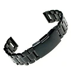 Ritche Bracelet de montre en acier inoxydable à fixation droite Noir 22mm