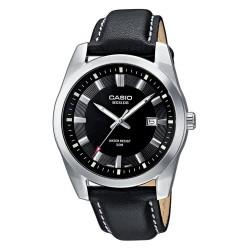 Casio - BEM-116L-1AVEF - Montre Homme - Quartz analogique - Dateur - Cadran Noir - Bracelet Cuir Noir