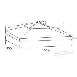 HomeStore Global, Toile de toit de rechange pour tonnelle 3m x 3m - Toile de protection et résistante aux UV - Camel