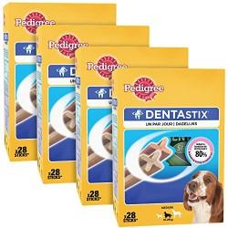 PEDIGREE - Dentastix multipack pour moyens chiens (10-25kg) - Boîte de 28 bâtonnets à mâcher (720g) - Lot de 4
