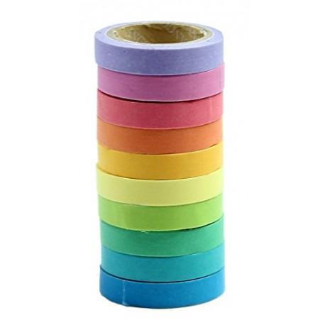 niceeshop(TM) Bricolage Décoratif Adhésif Autocollants Rainbow Paper Bande Papeterie Cadeau Scolaire (Jeu de 10, Couleurs Assort