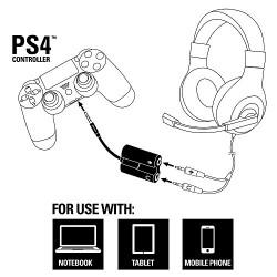 Câble adapteur combiné micro-casque pour PS4/PS3/PC - 3.5 mm