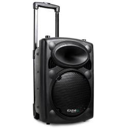 Ibiza Port 8 VHF - Enceinte sono portable - Haut parleur avec micro sans fil et micro fil, radio FM et lecteur MP3 (USB SD, chas
