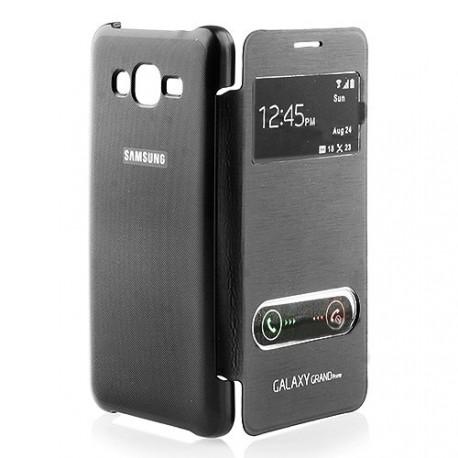 Étui folio Cover cache avec fenêtre pour Samsung Galaxy Grand Prime SM-G530FZ + 3 films et 1 stylet offerts noir