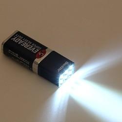 Blocklite® Mini Lampe de Poche Torche Ultre Bright Aluminium Etanche 9 Volt Ampoule LED Flashlight Blanc pour Camping Pêche Outd