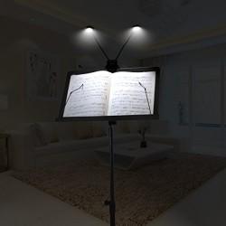 LE Rechargeable LED Lampe de Lecture, Portable Music Stand Lights, Dual Head, 4-niveau de luminosité, Adaptateur Secteur et Câbl