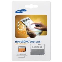 Samsung 64Go Carte Mémoire SDXC UHS-I EVO Micro SD Classe 10 avec adaptateur SD