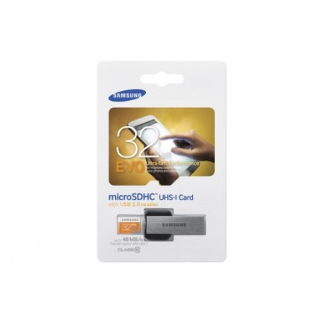Samsung 32 Go Carte Mémoire EVO Micro SD Classe 10 avec adaptateur USB  MB-MP32DU2/EU