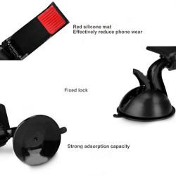 Support Ventouse Fixation Pare-brise Voiture Rotatif Pince pour Téléphone GPS